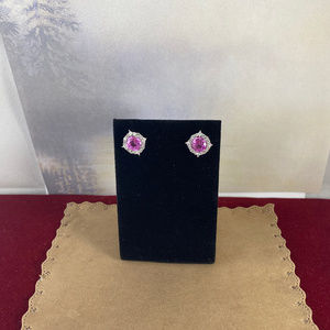 Gem Emporium Jewelry - Sterling Silver Pink Sapphire Gemstone Earrings